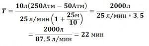 Расчет воздуха под водой (пример)